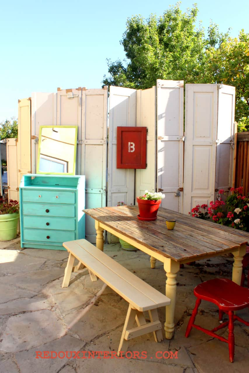 Repurpose Old Doors for an Easy Eclectic Privacy Wall