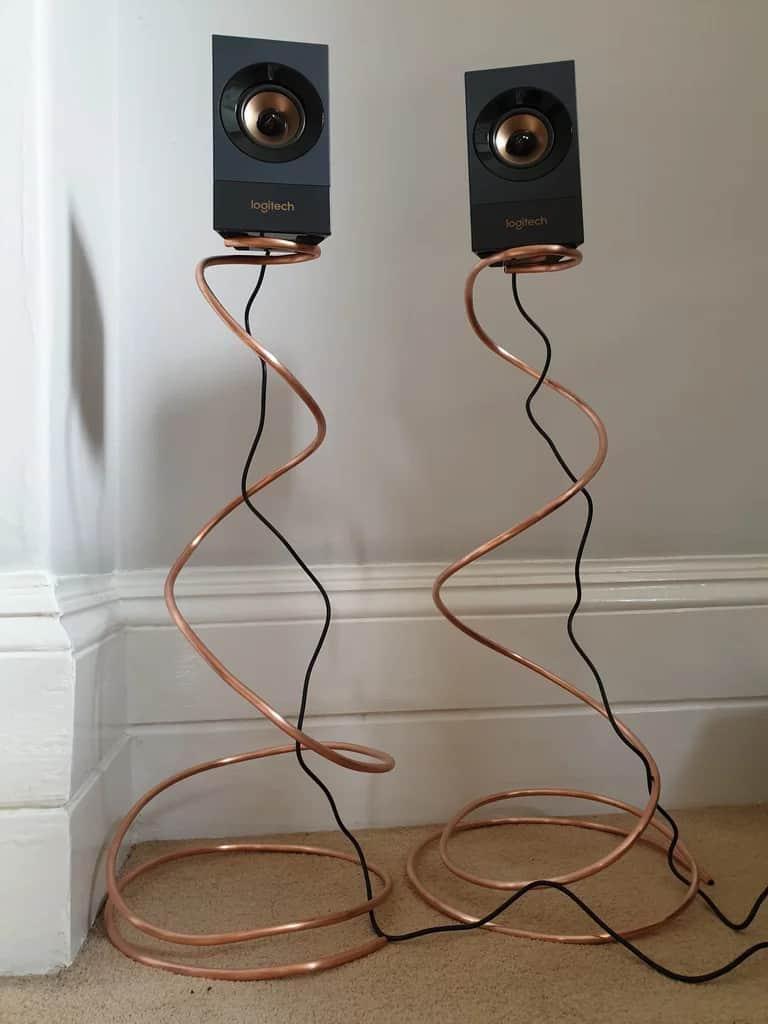Metallic Adjustable Height Speaker Stands