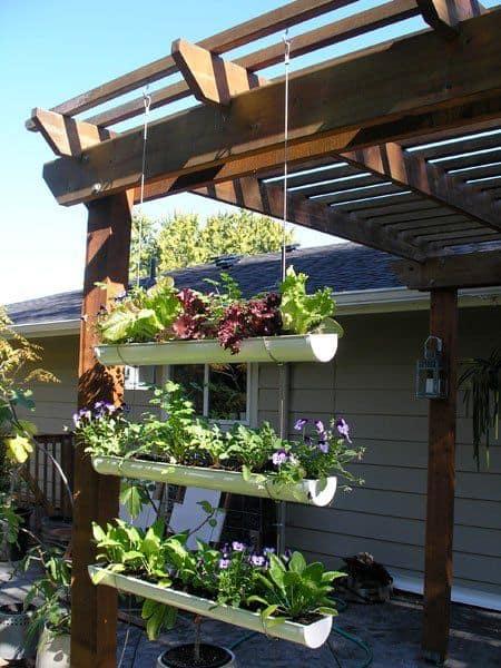 Build a Hanging Rain Gutter Garden Wall