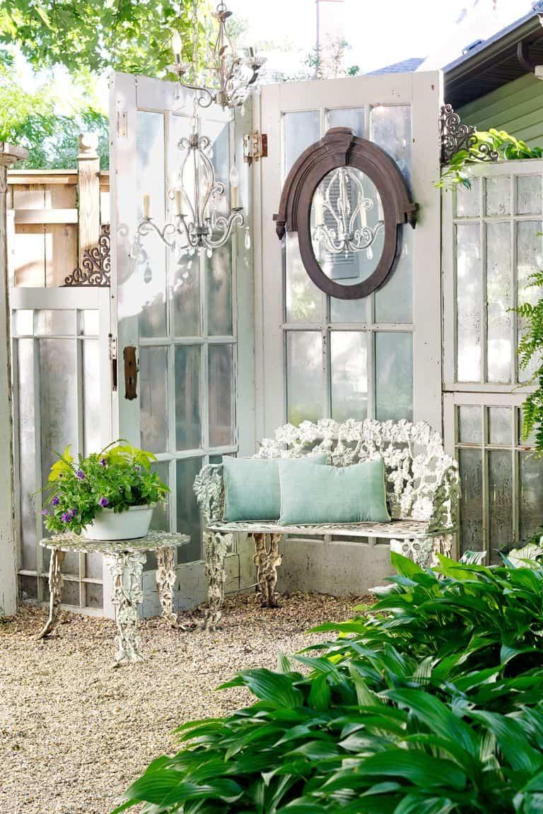 Vintage Glass Door Garden Corner Screen