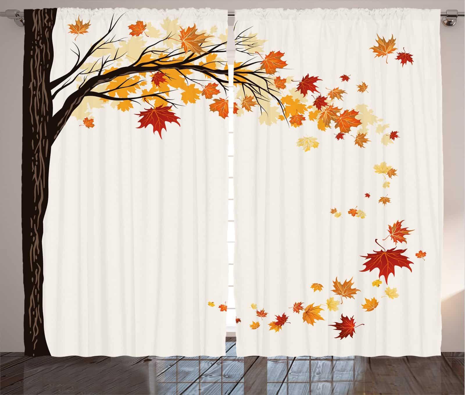 Add an Autumn Themed Mural Curtain Set