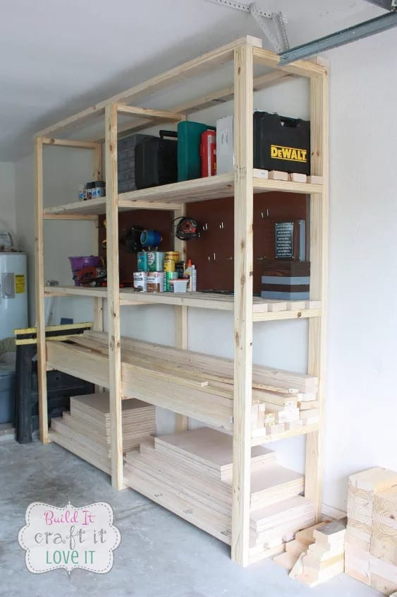 Sturdy Woodworking Tools and Supply Shelves