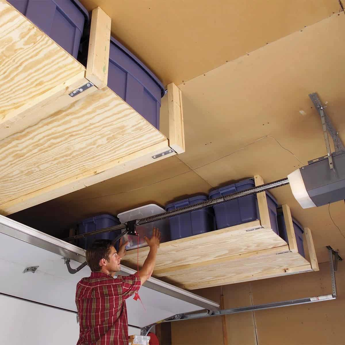 Plywood Ceiling Shelves