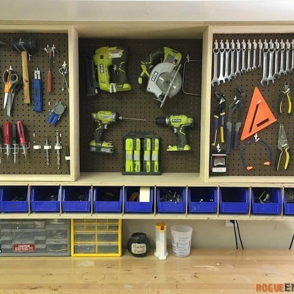 Fold Out Pegboard Storage