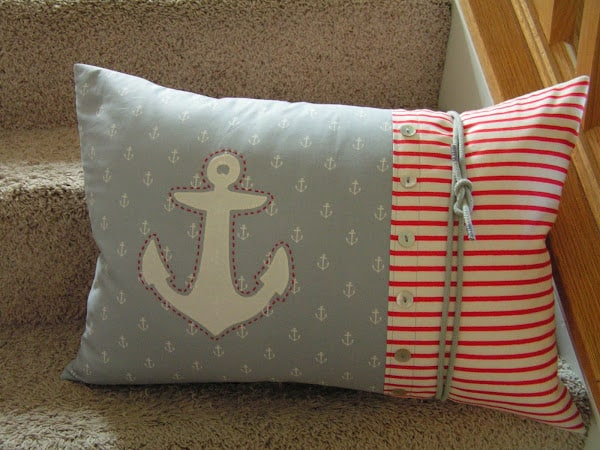 Easy Embroidered Anchor Pillow