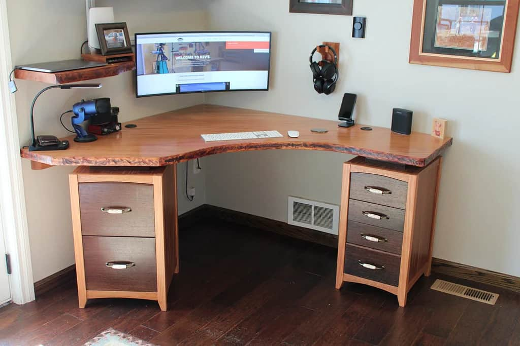 Rugged Wood Corner Desk with Files Cabinets and Shelves