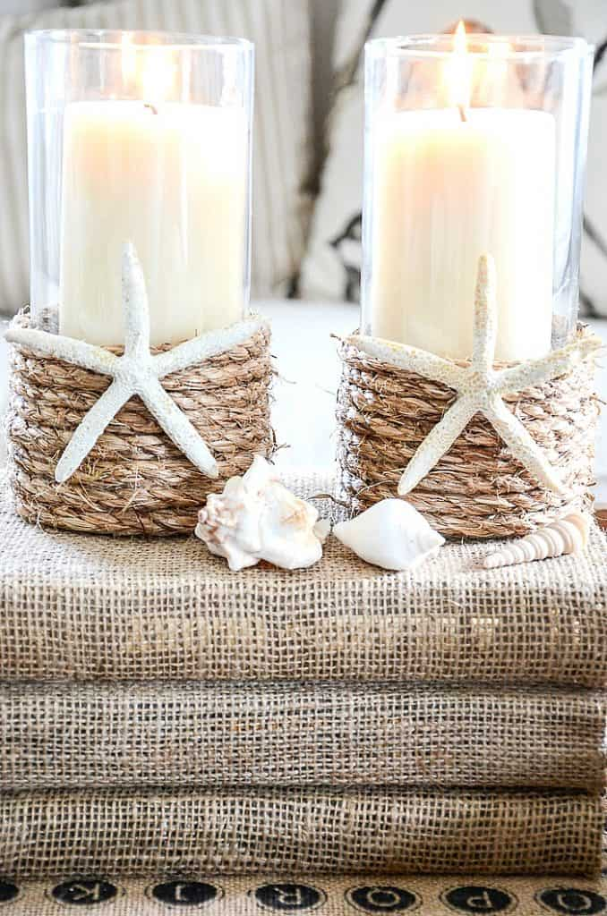 Pottery Barn Style Rope Wrapped Candle Holders