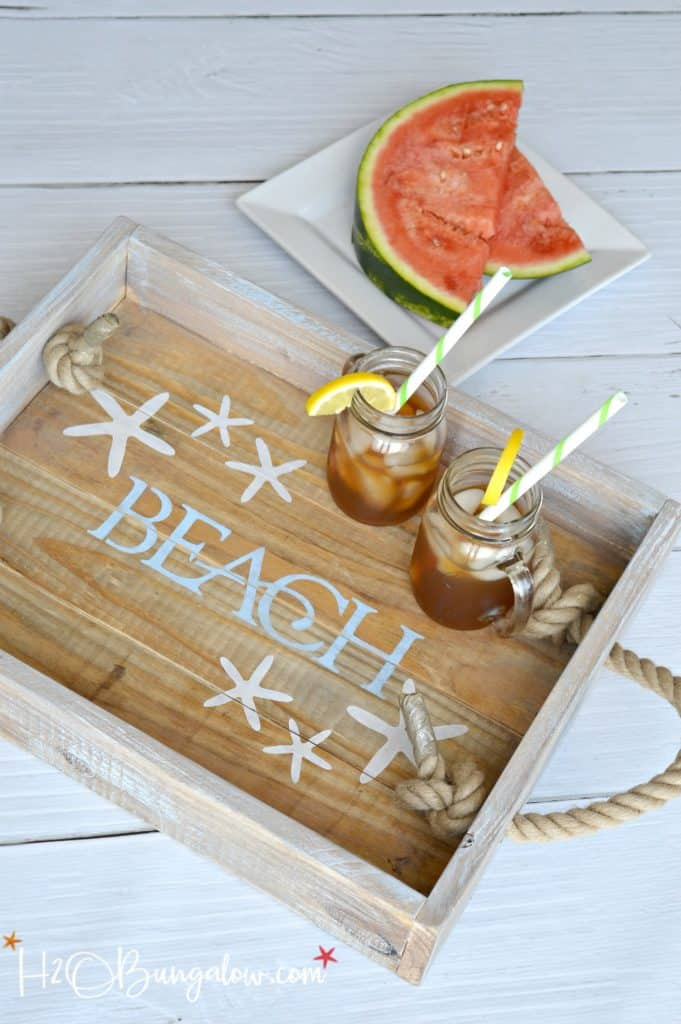 DIY Beach Tray with Rope Handles